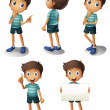 A young boy in different positions — Stock Vector