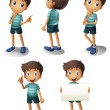 Royalty-Free Stock Vector Image: A young boy in different positions