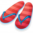 A pair of red slippers - Stock Vector
