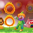 Stock Vector: A carnival with a clown and a lion near the ring of fire