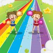 Two young cheerleaders dancing at the colorful road — Stock Vector #23356326