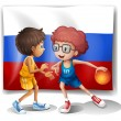 A flag of the Russian Federation with two basketball players — Stock Vector