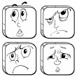 Four facial expressions — Stock Vector
