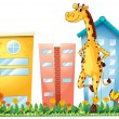 A giraffe standing in front of the tall buildings - Stok Vektör