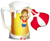 A sexy lady with the flag of Denmark and a glass full of beer at — Stock Vector