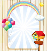 A pethouse near an empty template with balloons and rainbow — Stock Vector