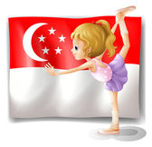 A girl dancing in front of the flag of Singapore — Stock Vector