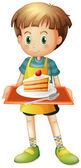 A boy holding a tray with a slice of cake in a plate — Stock Vector