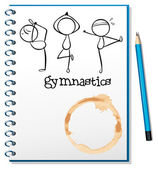 A notebook with a sketch of the three gymnasts — Stock Vector