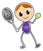 A sketch of a boy playing tennis — Stock Vector