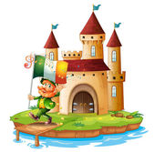A castle with a man holding the flag of Ireland — Stock Vector