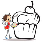 A girl painting the cupcake — Stock Vector