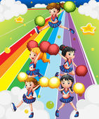 A cheering squad at the colorful street — Stock Vector