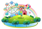 A clown with a flower in an island with a carnival — Stock Vector