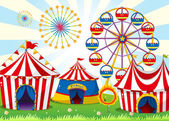 A carnival with stripe tents — Stock Vector