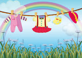 A garden with hanging baby clothes — Stock Vector