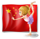 A gymnast in front of the Chinese flag — Stock Vector