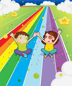 A young girl and a young boy at the colorful road — Stock Vector