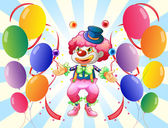 A clown with a colorful costume surrounded by balloons — Stock Vector
