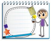 En bärbar dator med en ritning av en pojke som håller en kopp varmt te — Stockvektor
