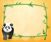 An empty stationery with a bamboo frame and a panda — Stock Vector