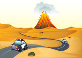 A desert with two patrol cars — Stock Vector