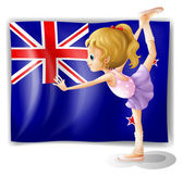 The flag of New Zealand with the gymnast — Stock Vector