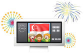 A scoreboard with the Singaporean flag and the three kids — Stock Vector