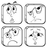 Four facial expressions — Stock Vector