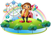 A monkey with a ferris wheel and balloons at the back — Stock Vector