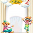 A circus entrance with a male and a female clown — Stock Vector