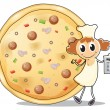 Royalty-Free Stock Vector Image: A chef in front of a pizza pie
