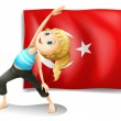 The flag of Turkey with a girl exercising — Stock Vector