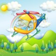 A helicopter with kids - Grafika wektorowa