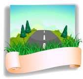 A road at the back of the signage — Stock Vector