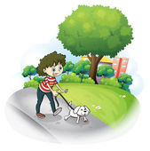 A woman and her puppy at the street — Stock Vector