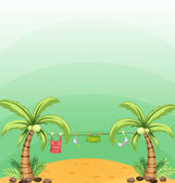 Two coconut trees with hanging clothes — Stock Vector