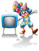 A clown with balloons near the T.V. — Stock Vector