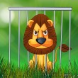 A scary lion inside the cage - Stock Vector
