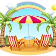 A seashore with a beach umbrella and chairs — Stock Vector