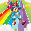 Royalty-Free Stock Vector Image: A clown with balloons at the colorful street