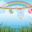Hanging baby clothes under the rainbow — Stock Vector #23439312