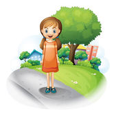 A girl standing in the middle of the street — Stock Vector