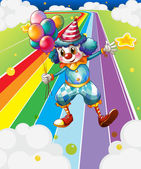 A clown with balloons at the colorful street — Stock Vector