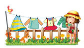 A girl with icecream near the hanging clothes — Stock Vector