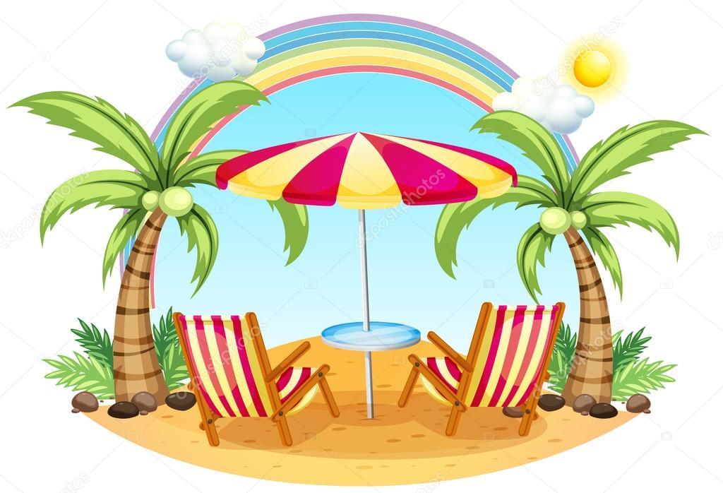 Una spiaggia con un ombrellone e sedie vettoriali stock for 3 piani di design da spiaggia