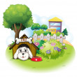 A white puppy inside a doghouse — Stock Vector