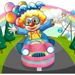 A clown riding in a pink car with balloons — Stock Vector #23443208