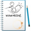 A notebook with a sketch of a person waterskiing — Stock Vector