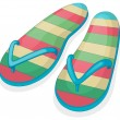A pair of a colorful slippers — Stock Vector